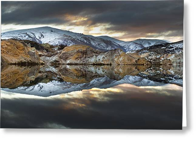 Reflections Of Cliffs On Blue Lake St Bathans Greeting Card by Colin Monteath