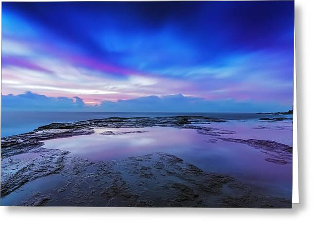 Seascape With Clouds Greeting Cards - Reflections of Pink and Blue Greeting Card by Mark Lucey