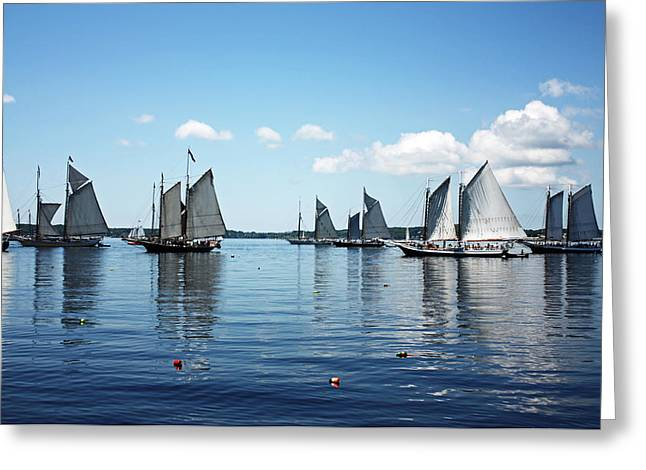 Tall Ships Greeting Cards - Reflections Of Sailing Greeting Card by Becca Brann