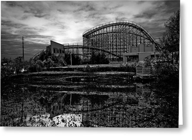 Wooden Coaster Greeting Cards - Reflections of the Mega Zeph Greeting Card by Pixel Perfect by Michael Moore