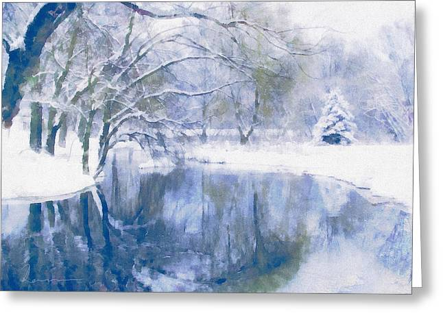 Cyan Greeting Cards - Reflections Of Winter Greeting Card by Georgiana Romanovna