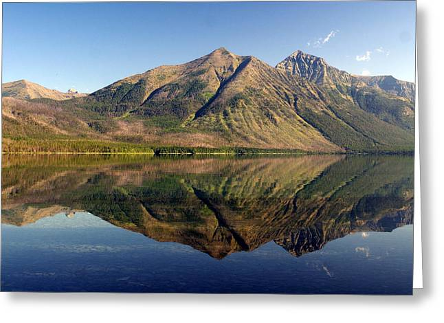 Reflections On Lake Mcdonald Greeting Card by Marty Koch
