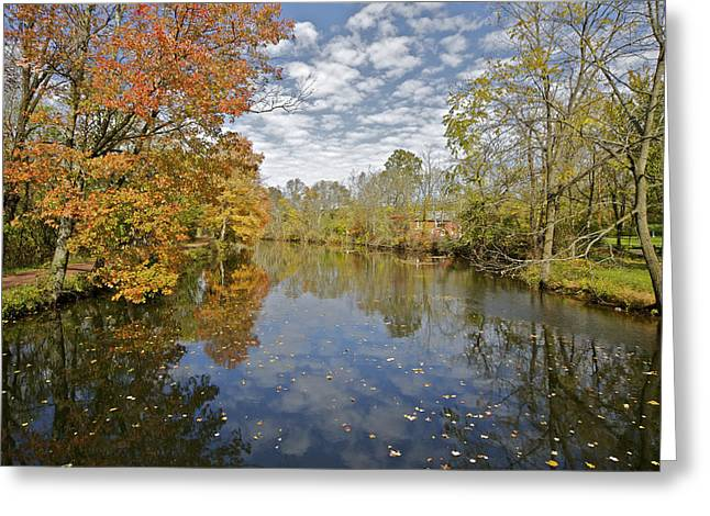 Raritan Greeting Cards - Reflections on the Canal Greeting Card by David Letts