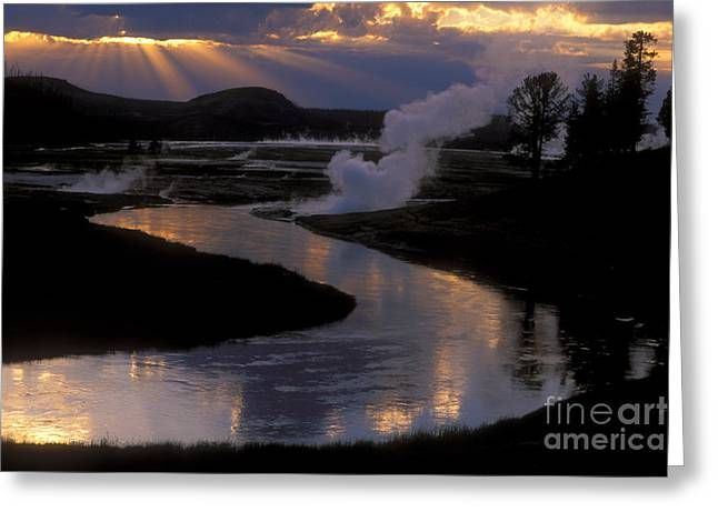 Crepuscular Rays Greeting Cards - Reflections On The Firehole River Greeting Card by Sandra Bronstein