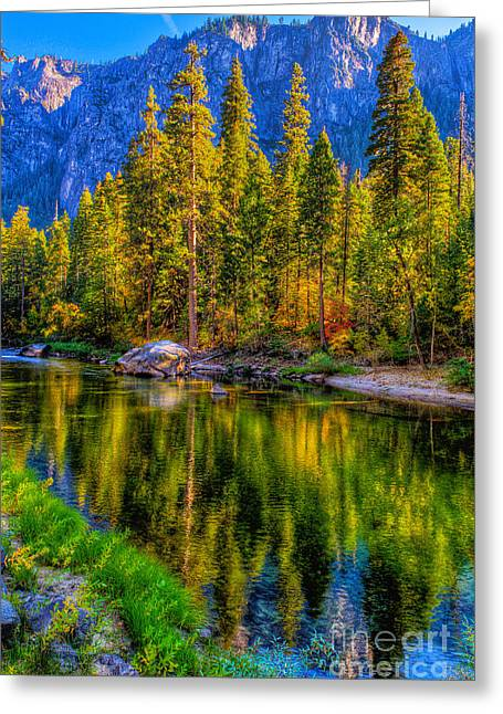Nahmias Greeting Cards - Reflections on the Merced river Yosemite National Park Greeting Card by Eyal Nahmias