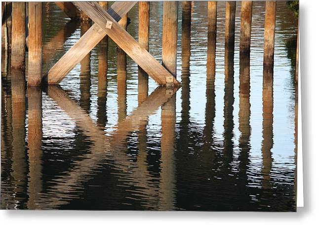 Reflections Of Shadows Greeting Cards - Reflections under the Dock Greeting Card by Carol Groenen