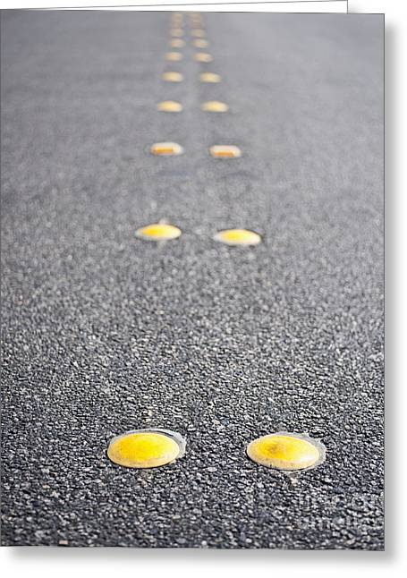 Yellow Line Greeting Cards - Reflective Roadway Divider Bumps Greeting Card by Thom Gourley/Flatbread Images, LLC