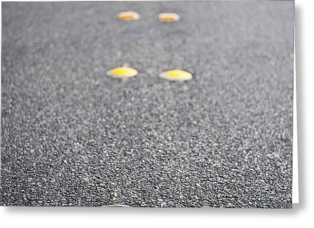 Reflective Roadway Divider Bumps Greeting Card by Thom Gourley/Flatbread Images, LLC