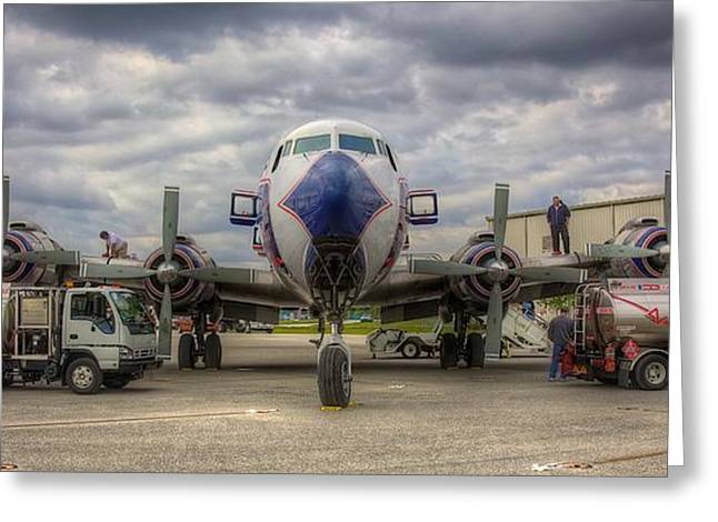 Historical Flight Foundation Greeting Cards - Refueling -- EAL DC-7B Greeting Card by William Wetmore
