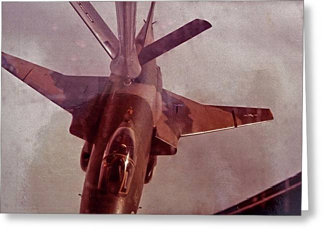 F-101 Greeting Cards - Refueling the F-101 Fighter Greeting Card by David Kehrli