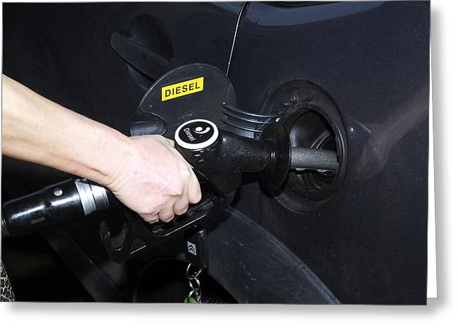 Pumping Station Greeting Cards - Refuelling A Diesel Car Greeting Card by Victor De Schwanberg