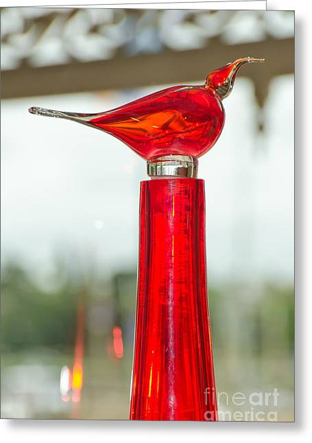 Shiny Glass Art Greeting Cards - Reg Bird of glass Greeting Card by Yurix Sardinelly