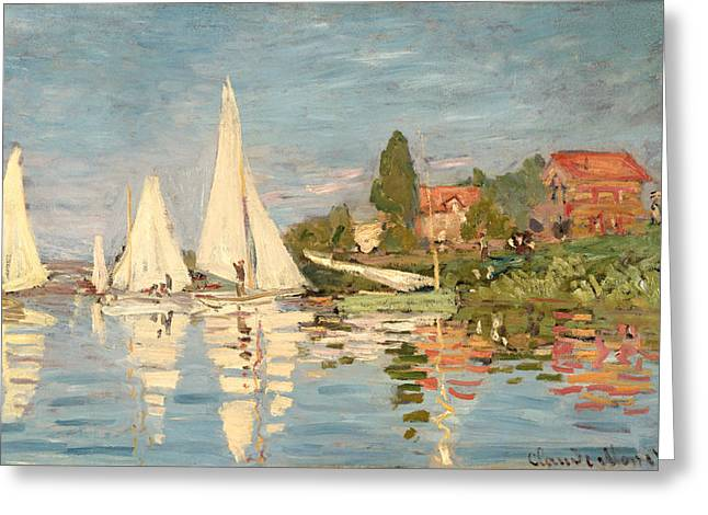 Monet Canvas Greeting Cards - Regatta at Argenteuil Greeting Card by Claude Monet