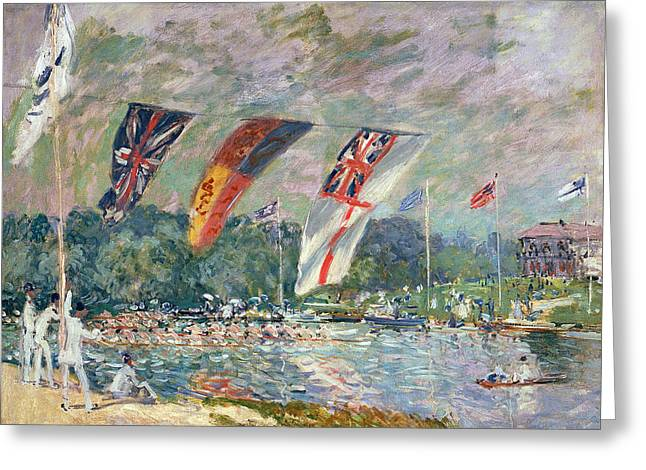 Recently Sold -  - Boats On Water Greeting Cards - Regatta at Molesey Greeting Card by Alfred Sisley