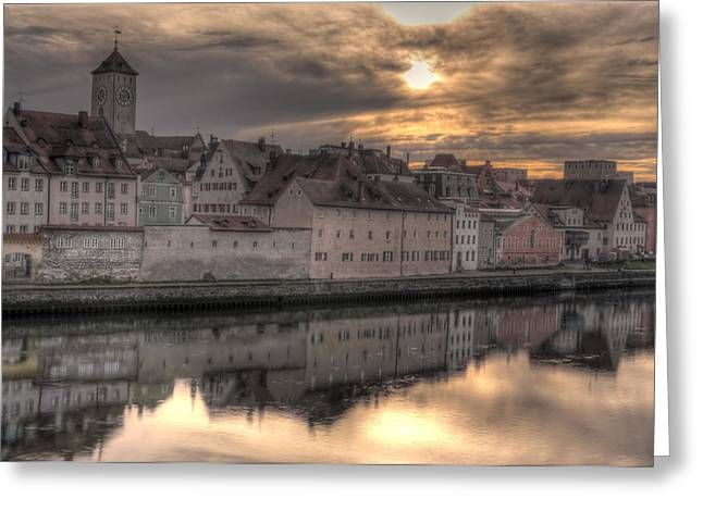 Regensburg Cityscape Greeting Card by Anthony Citro