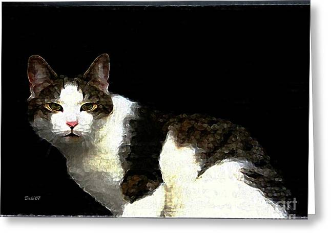 Felines Dale Ford Greeting Cards - Reggie in Window Greeting Card by Dale   Ford