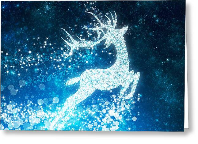 Snowflake Greeting Cards - Reindeer stars Greeting Card by Setsiri Silapasuwanchai
