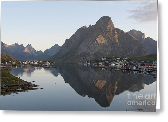Norway Village Greeting Cards - Reine Village in Early Morning Light Greeting Card by Heiko Koehrer-Wagner
