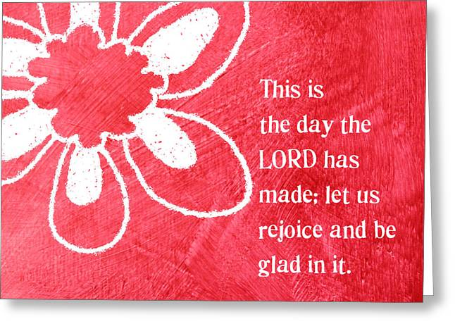 Scripture Mixed Media Greeting Cards - Rejoice Greeting Card by Linda Woods