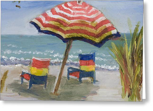 Lawn Chair Greeting Cards - Relaxing Day with Gold Leaf by Vic Mastis Greeting Card by Vic  Mastis