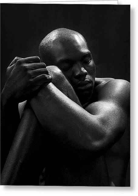 Male Model Greeting Cards - Relaxing men Greeting Card by Val Black Russian Tourchin