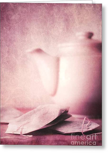 Vertical Digital Art Greeting Cards - Relaxing Tea Greeting Card by Priska Wettstein