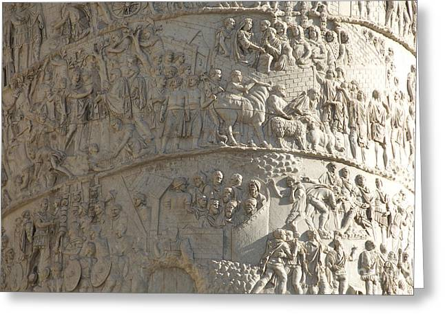 Italy History Greeting Cards - Relief. detail view of the Trajan Column. Rome Greeting Card by Bernard Jaubert