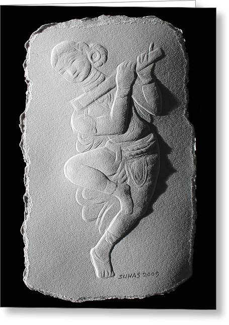 Temple Reliefs Greeting Cards - Relief flute player Greeting Card by Suhas Tavkar