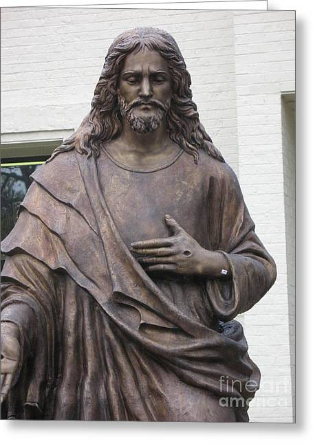 Jesus Photographs Greeting Cards - Religious Jesus Statue - Christian Art Greeting Card by Kathy Fornal