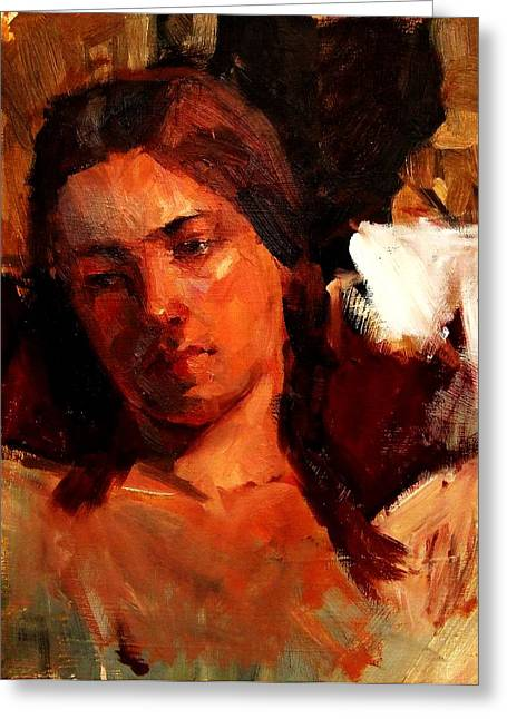 Bully Greeting Cards - Religious Portrait of a Young Boy Man or Woman Reclining in Dramatic Thought Mystery Strong Cont Greeting Card by M Zimmerman MendyZ