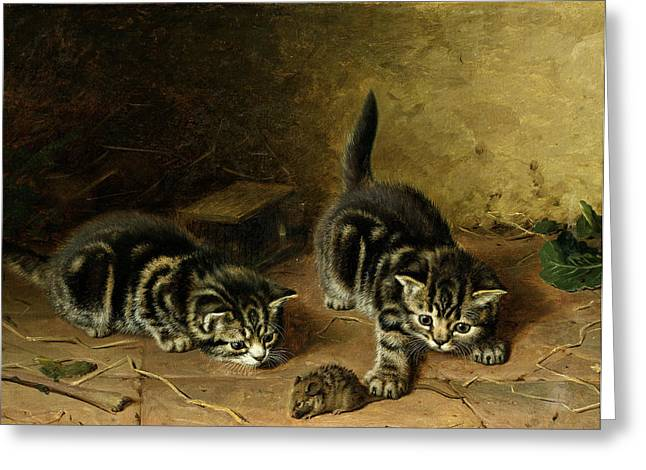 Playful Kitten Greeting Cards - Reluctant Playmate Greeting Card by Horatio Henry Couldery