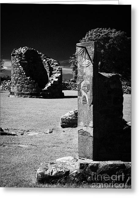 Remains Of The 6th Century Round Tower And Reconstructed Sundial Nendrum County Down Ireland Greeting Card by Joe Fox