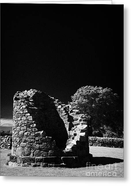 Remains Of The 6th Century Round Tower At The Monastic Site At Nendrum On Mahee Island County Down Greeting Card by Joe Fox