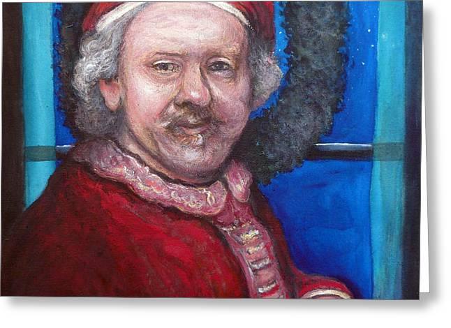Rembrandt Santa Greeting Card by Tom Roderick