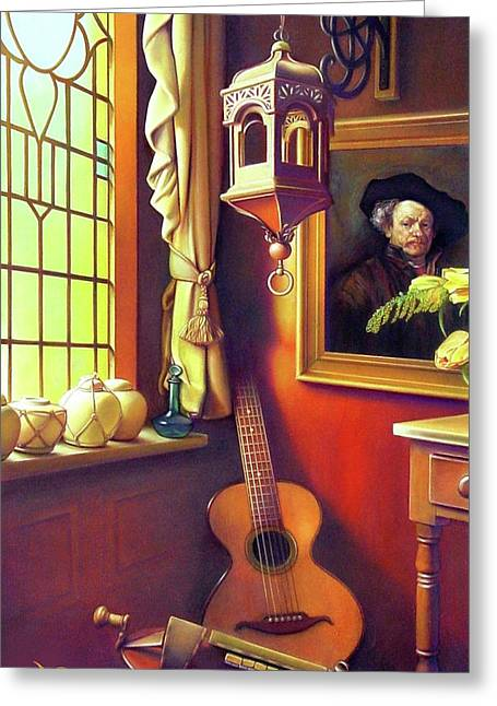 Stained Glass Windows Greeting Cards - Rembrandts Hurdy-Gurdy Greeting Card by Patrick Anthony Pierson