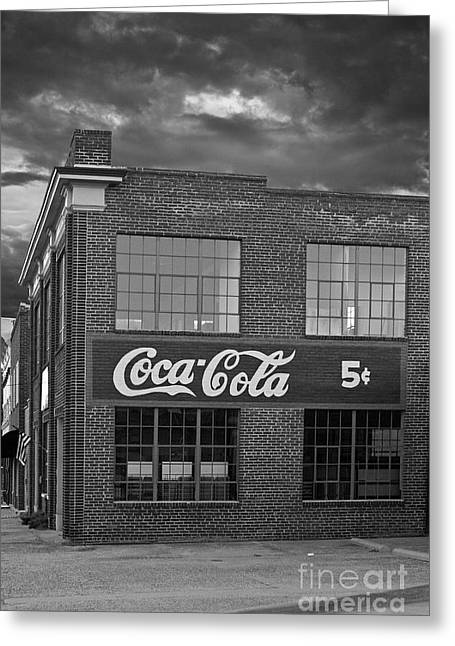 Coca-cola Sign Greeting Cards - Remember 5 cents Greeting Card by Tim Wilson