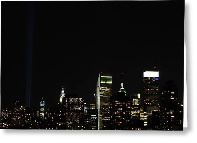 The Twin Towers Of The World Trade Center Greeting Cards - Remember September 11th Greeting Card by Catie Canetti