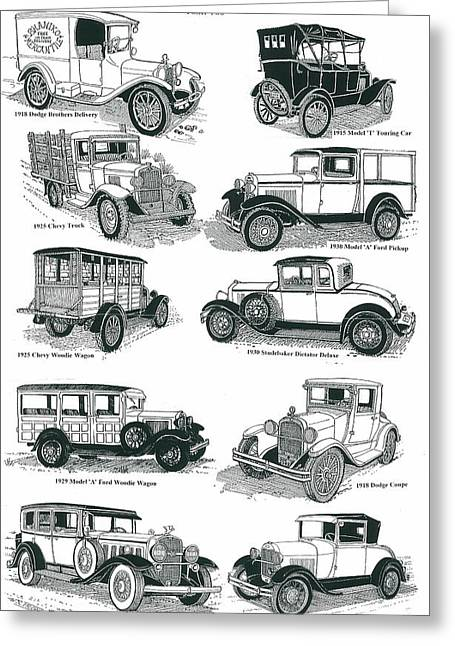 Ford Model T Car Drawings Greeting Cards - Remember the Days 2 Greeting Card by Bill Friday