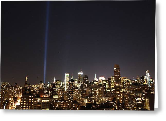 The Twin Towers Of The World Trade Center Greeting Cards - Remember the Heroes Greeting Card by Catie Canetti