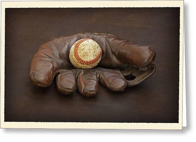 Baseball Glove Greeting Cards - Remember When - Marks Mitt Greeting Card by John Stephens