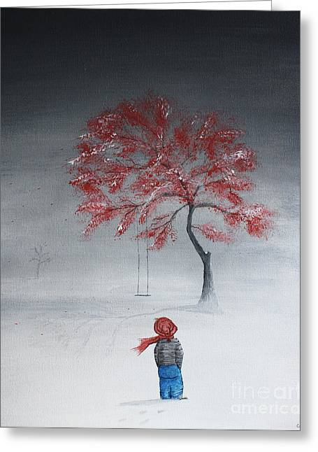 Child Swinging Paintings Greeting Cards - Remembering Summer Greeting Card by Gray  Artus