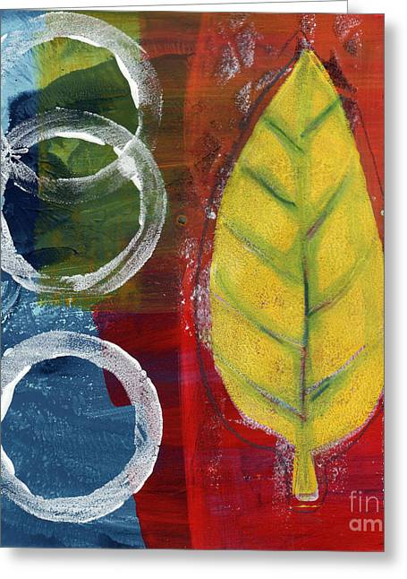 Red Leaves Mixed Media Greeting Cards - Remembrance Greeting Card by Linda Woods