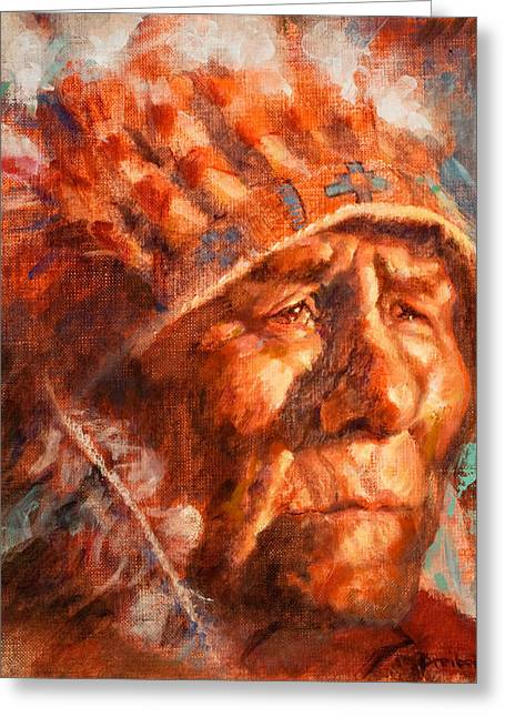 Plains Indian Greeting Cards - Remembrance of Things Past Greeting Card by Ellen Dreibelbis