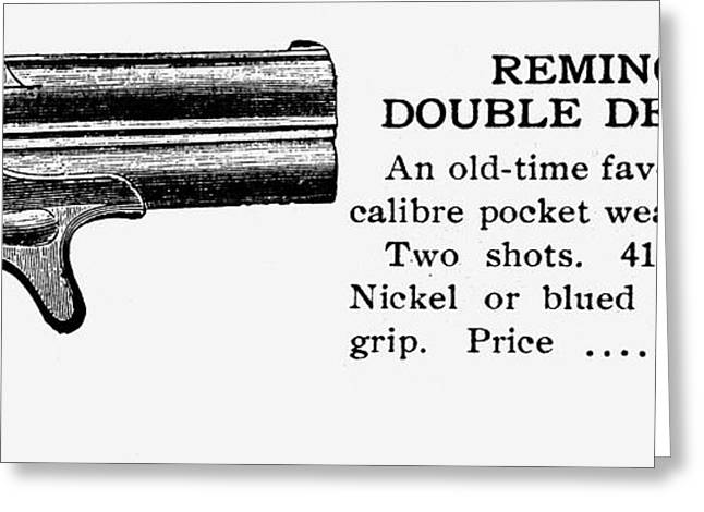 Remington Greeting Cards - Remington Double Derringer Greeting Card by Granger