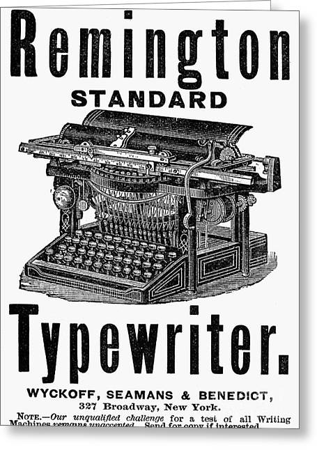 Remington Greeting Cards - Remington Typewriter, 1888 Greeting Card by Granger