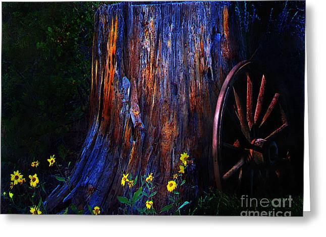 Wagon Wheels Digital Art Greeting Cards - Remnants Of Western Expansion Greeting Card by Terril Heilman