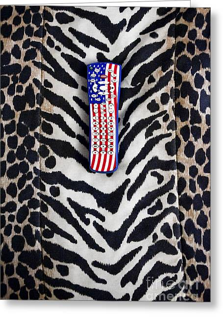 Red White And Blue Prints Greeting Cards - Remote Control on Animal Print Background Greeting Card by Eddy Joaquim
