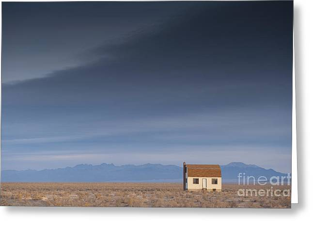 Unoccupied Greeting Cards - Remote House in Barren Lanscape Greeting Card by Dave & Les Jacobs
