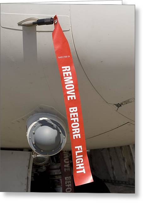 Removed Greeting Cards - Remove Before Flight Tag Greeting Card by Mark Williamson