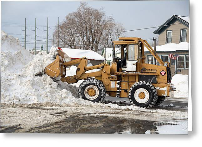 Removing Snow Greeting Card by Ted Kinsman